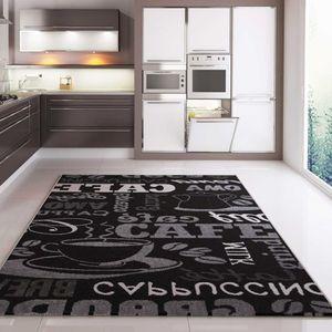 Küchenteppich Coffee Design Modern Kaffee Muster in Schwarz ideal für die Lounge oder Küche, Maße:120x170 cm