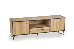 TV-Tisch - Schrank - Mit viel Stauraum - Schublade und Türen - Retro Design - Vintage Look - Industriedesign - Natur - Holz - MDF - 158x40x54cm