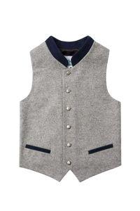 Isar Trachten Kinder Trachtenweste grau dunkelblau 004049 Größe: 164