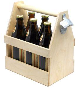 DanDiBo Flaschenträger 6 Flaschen Holz Bierträger mit Flaschenöffner 93945 Männerhandtasche