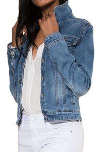 Damen Jeans Jacke Kurz Übergangsjacke Frühling Denim Weste, Farben:Hellblau, Größe:42