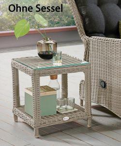 Destiny Loungetisch Merano Tisch Polyrattan Beistelltisch Kaffeetisch Vintage Weiß - Ohne Sessel -