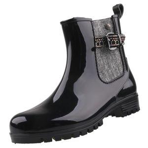 GOSCH Shoes Sylt Damen Gummi-Stiefeletten Schwarz/Silber, Schuhgröße:EUR 36