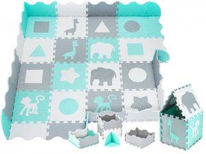 XXL Krabbelmatte Puzzelmatte mit Rand Spielmatte für Babys und Kleinkinder 150 x 150 x 1 cm + Wasserdicht - Grün