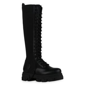 Mytrendshoe Damen Stiefel Plateaustiefel Leicht Gefüttert Schnürer Blockabsatz 835760, Farbe: Schwarz, Größe: 37