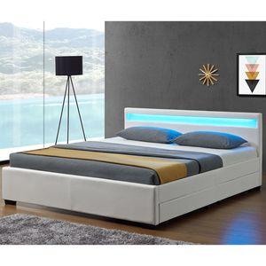 Polsterbett Lyon 140 x 200 cm weiß – Bettgestell mit Lattenrost, Bettkasten & LED Beleuchtung  – Kunstleder & Holz – Bett Jugendbett | Juskys