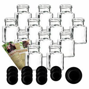 12er oder 24er Set gouveo 150 ml Einmachgläser Quadrat incl. Deckel und Flaschendiscount-Rezeptbroschüre, Deckelfarbe:Schwarz, Setgröße:24er Set