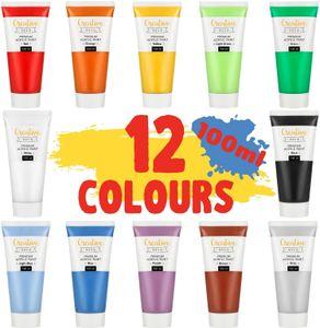 Creative Deco Acryl-Farben Set | 12 Groß 100 ml Röhren | Farbset Hergestellt in EU | Für Anfänger Studenten Künstler und Profis | Ideal für Holz Leinwand Stoff und Papier | 12 x 100 ml Tuben