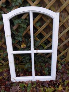 Stabiles Fenster Sprossenfenster Nachbildungahmen abgerundet Holz weiss 77cm