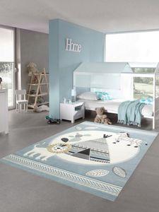 Kinderzimmer Teppich Spielteppich Indianer Zelt Löwe Zebra Kaktus blau creme grau Größe - 120 cm Rund