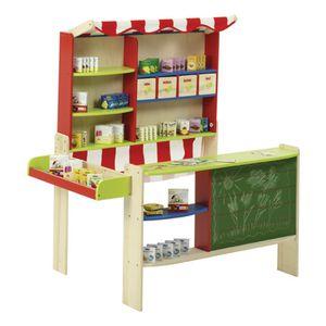 Roba Verkaufsstand, Massivholz, mit integr. Tafel, 4 Holzschubladen, seitl. Theke,