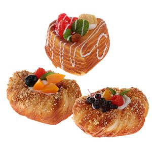 3er Künstliche PolyurethanSchaum Brötchen Brot Bäckerei Kinder Kaufladen Zubehör