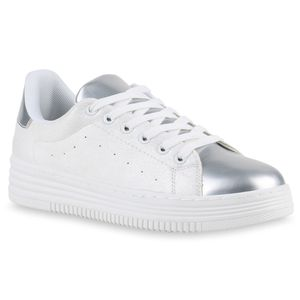 Mytrendshoe Damen Sneakers Plateau Sneaker Sportschuhe Glitzer Schuhe 817153, Farbe: Silber Weiß, Größe: 37