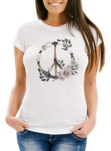 Damen T-Shirt Peace-Symbol Blumen Flowerpower Hippie Boho Bohemian Slim Fit Neverless® weiß L
