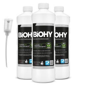 BiOHY Backofenreiniger Hochkonzentrat (3x1l Flasche) + Dosierer | Profi Grillreiniger, Fettlöser EXTRA STARK | Zur einfachen und schnellen Ofenreinigung | Löst hartnäckigste Verkrustungen