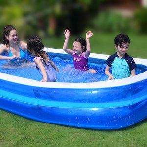 CAMTOA  2,1x1,4x0,65m Pool Schwimmbad Planschbecken Schwimmbecken Kinderpool Familienpool Kinder Erwachsene aufblasbar rechteckig