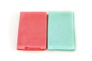 TUPPERWARE FaserPro Glas türkis Mikrofasertuch Glastuch + FaserPro rot + SPÜLTUCH