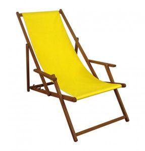 Gartenliege gelb Liegestuhl klappbare Sonnenliege Deckchair Strandstuhl Gartenmöbel 10-302