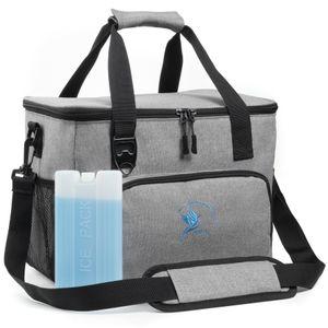Kühltasche 20 Liter schwarz mit Kühlakku und integriertem Flaschenöffner - langlebig Dank wasserdichtem PEVA-Material und reißfesten Nähten