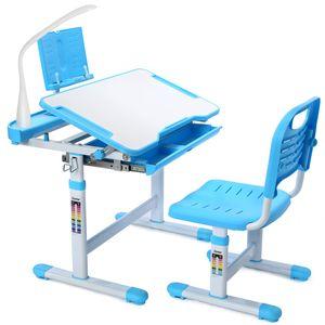 Schreibtisch mit Schreibtischstuhl kinder Set, Schreibtische mit höhenverstellbarer Lampe mit EU-Stecker Schreibtisch und Stuhlset für Schülerinnen und Schüler Schreibtisch mit ausziehbarer Schublade