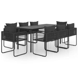 Gartenmöbel Essgruppe 8 Personen ,9-TLG. Terrassenmöbel Balkonset Sitzgruppe: Tisch mit 8 Stühle PVC Rattan Schwarz❀9550