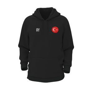 Hoodie TÜRKEI Schwarz Gr. L Kapuzenpulli Sweatshirt mit Druck (Name, Nummer oder Initialen)