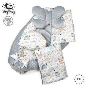 Babynestchen Set Neugeborene - Kuschelnest Baby Nestchen Bett Set 5- Teilig Kokon Baumwolle – Fleecestoff Grau mit Tiermuster