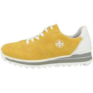 Rieker M6929 sportliche Damen Schnürschuhe Halbschuhe, Größe:39 EU, Farbe:Gelb