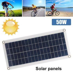 50W polykristallines Solarenergie Sonnenkollektor Solarmodul Wasserdichtes Solarsystem Hocheffizientes USB-Solarstrom-Kit zum Laden von 12-18 V Batterie Outdoor Camping