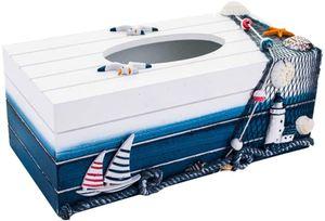 Holz Tissue Box Kosmetiktücherbox Mediterraner Stil Kleenexbox Maritime Tischdeko Taschentuchbox Kosmetiktuchspender Kosmetiktuch Box Nautische Geschenke für Zuhause Büro