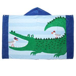 Jungen Mädchen Kapuzenhandtuch Kapuzentuch Kinder Badeponcho Duschtuch Farbe Königsblau-Streifen