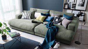Big Sofa Stoff verschiedene Farben KAWOLA olivgrün E