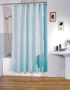 """MSV Anti-Schimmel Duschvorhang - Anti-Bakteriell, waschbar, wasserdicht, mit 12 Duschvorhangringen - Polyester, """"Hellblau"""" 180x200cm"""