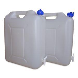 2 Stück 20 Liter 20 L Wasserkanister (WK) inkl. Auslaufhahn Camping dicht verschließbar (2x20 WK)