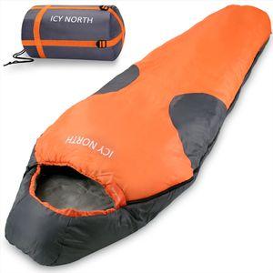 Schlafsack Icy North 230x82cm Mumienschlafsack -13°C Deckenschlafsack Camping, Farbe:orange-anthrazit