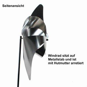 Windrad Edelstahl Gartenstecker Windspiel Garten Terrasse Deko Windmühle Luftrad, Größe:L30 x D13cm