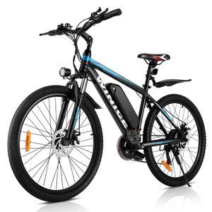 WINICE  E-bikes E-Trekkingrad Elektrofahrrad Mountainbike mit LED Fahrradlicht, 26 Zoll E-MTB Elektrisches Fahrrad mit 36V 10.4AH Lithium Akku 250W und Shimano 21-Gang Getriebe,für Damen, Herren, Unisex,Blau