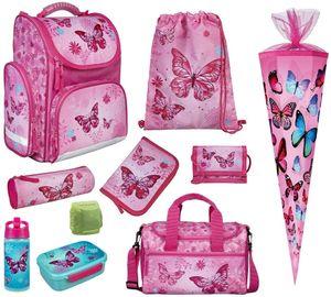 Mädchen Schulranzen-Set 10 TLG. Modell CLOU Ranzen 1. Klasse mit Brotzeit-Dose, Trink-Flasche, Sporttasche, Schultüte 85cm und Regenschutz Butterfly Pink