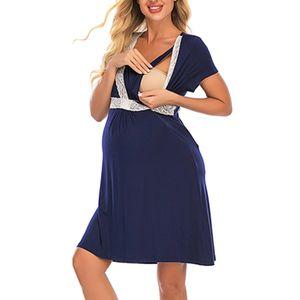 Frauen Umstandskleid Still Nachthemd Stillen Nachtwäsche Schwangere Spitzenrock,Farbe:Navy Blau,Größe:M