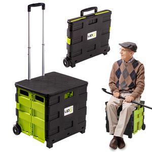UPP Shopping Cart mit Deckel klappbar und zum Sitzen geeignet bis 80 kg