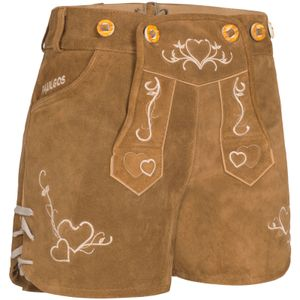 PAULGOS Damen Trachten Lederhose kurz y Hotpants - H2 - Echtes Leder - Größe 34 - 42, Farbe:Hellbraun, Größe:36