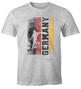 Herren Fan-Shirt Deutschland Flagge Vintage WM 2018 Fußball Weltmeisterschaft Trikot Moonworks® grau-meliert XL