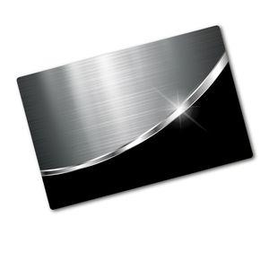 Tulup® Glas Herdabdeckplatte -  80x52 cm  - Ceranfeldabdeckung Spritzschutz Glasabdeckplatte  - Einteilig- Material-Textur - Metall Schwarz - Silber