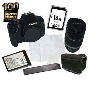 PHOTO PORST - Postfiliale Jubiläumsangebot Canon EOS 2000D mit Canon Objektiv 18-200 mm, Reinigungstuch, Kameratasche, Ersatzakku, Speicherkarte und Displayschutzfolie