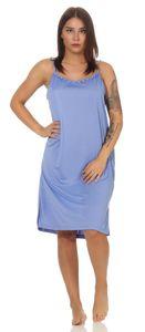 Damen Nachthemd Sleepshirt Nachtwäsche Sommer ohne Ärmel, Blau M