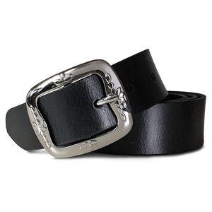 ROYALZ Vintage Ledergürtel für Damen aus Büffel-Leder 38mm breit Jeans-Gürtel Damen kürzbar Voll-Leder, Größe:105, Farbe:Schwarz - Schnalle Floral glänzend