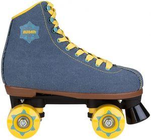 Nijdam Damen Retro Rollerskates Denim Rebel Denimblau/Gelb, Größe:40