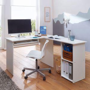 WOHNLING Design Schreibtischkombination 140 x 75,5 x 120 cm Weiß | Schreibtisch mit Regal und Tastaturauszug | Arbeitszimmer Home Office Tisch Büro Modern