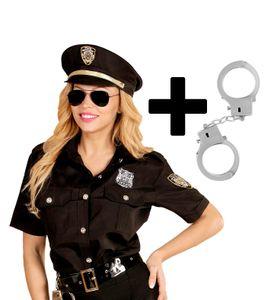 Damen Kostüm Police Officer Bluse + Mütze + Handschellen Cop Polizistin, Größe:XL