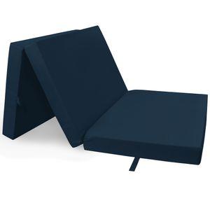 Klappmatratze 60x190 cm Dunkelblau Compact - Reisebett Matratze mit Abnehmbarem Bezug - Gästematratze & Faltmatratze Klappbare Matratze - Tragbares Gästebett & Campingbett